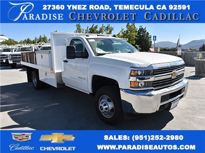 2017 Silverado 3500 Regular Cab DRW,  Harbor Black Boss Flatbed Contractor Body #M171216 - photo 1