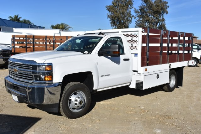 2017 Silverado 3500 Regular Cab DRW,  Royal Stake Bed Bodies Flat/Stake Bed #M17752 - photo 5
