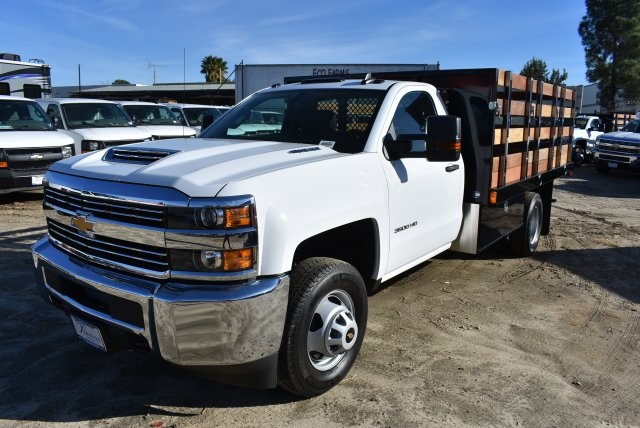 2018 Silverado 3500 Regular Cab DRW 4x2,  Harbor Black Boss Stake Bed Flat/Stake Bed #M18186 - photo 5