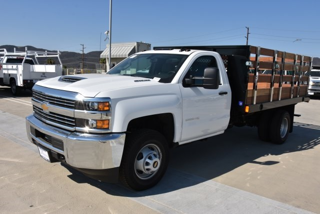 2018 Silverado 3500 Regular Cab DRW 4x2,  Harbor Black Boss Stake Bed Flat/Stake Bed #M18677 - photo 5
