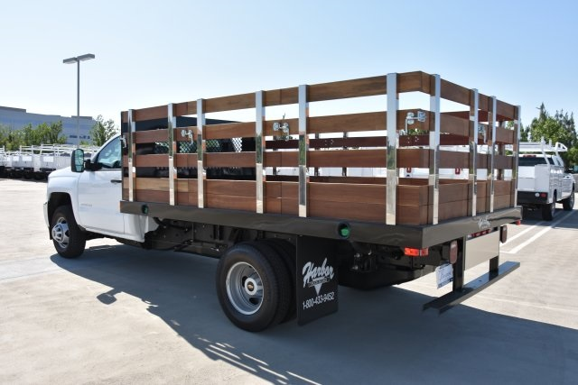 2018 Silverado 3500 Regular Cab DRW 4x2,  Harbor Black Boss Stake Bed Flat/Stake Bed #M18677 - photo 7