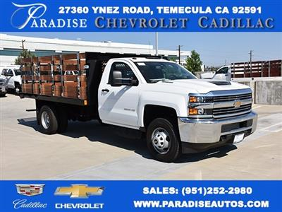 2018 Silverado 3500 Regular Cab DRW 4x2,  Harbor Black Boss Stake Bed Flat/Stake Bed #M18677 - photo 1