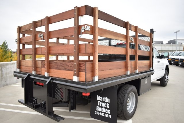 2019 Silverado 3500 Crew Cab DRW 4x2,  Flat/Stake Bed #M19487 - photo 2