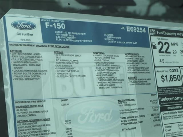 2018 F-150 SuperCrew Cab 4x2,  Pickup #8W1C9254 - photo 15