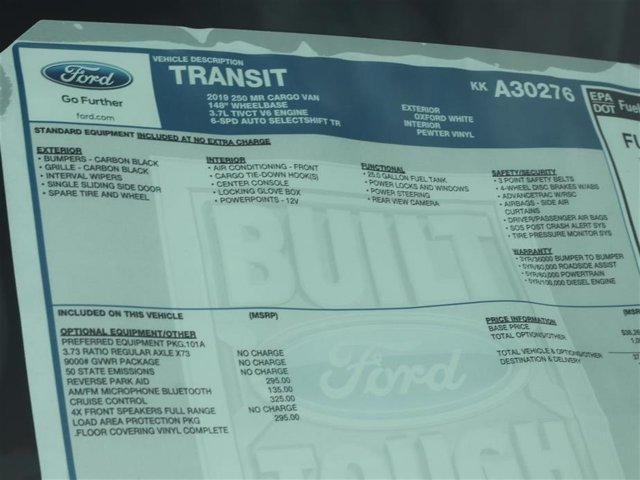2019 Transit 250 Med Roof 4x2,  Empty Cargo Van #9R2C0276 - photo 15