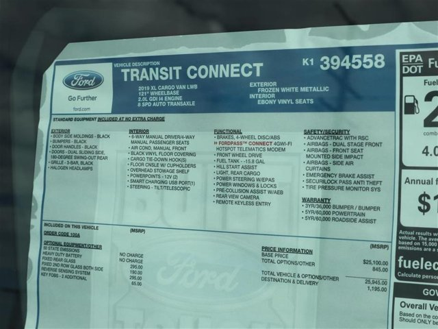 2019 Transit Connect 4x2,  Empty Cargo Van #9S7E4558 - photo 15