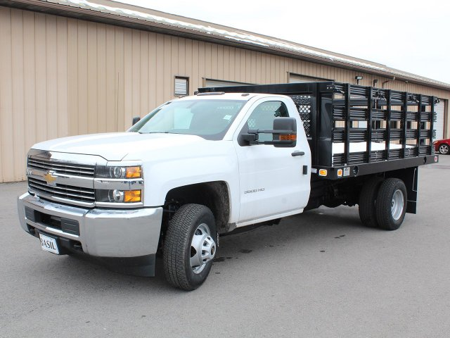 2017 Silverado 3500 Regular Cab DRW 4x4, Knapheide Stake Bed #17C315T - photo 3