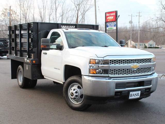 2019 Silverado 3500 Regular Cab DRW 4x4,  Reading Steel Stake Bed #19C36T - photo 10