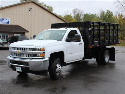 2019 Silverado 3500 Regular Cab DRW 4x4,  Reading Steel Stake Bed #19C37T - photo 9