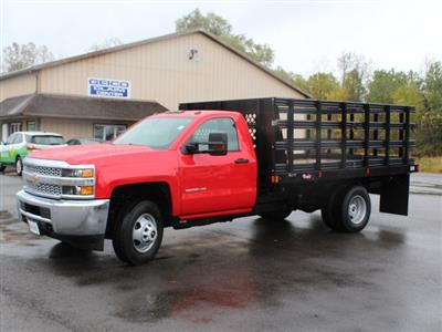 2019 Silverado 3500 Regular Cab DRW 4x4,  Rugby Series 2000 Stake Bed #19C41T - photo 3