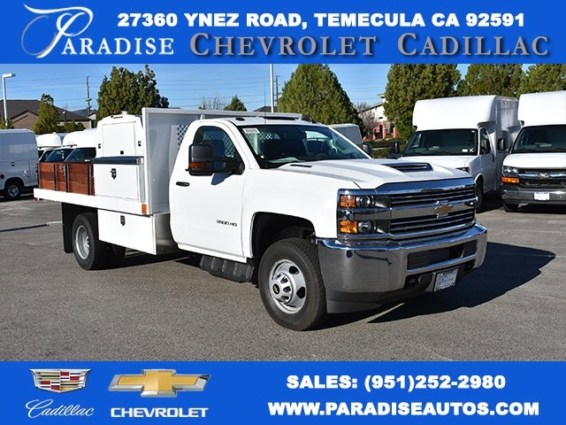 2018 Silverado 3500 Regular Cab DRW 4x2,  Harbor Black Boss Platform Body #M18183 - photo 1