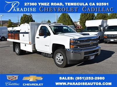 2018 Silverado 3500 Regular Cab DRW, Harbor Black Boss Flatbed Platform Body #M18183 - photo 1
