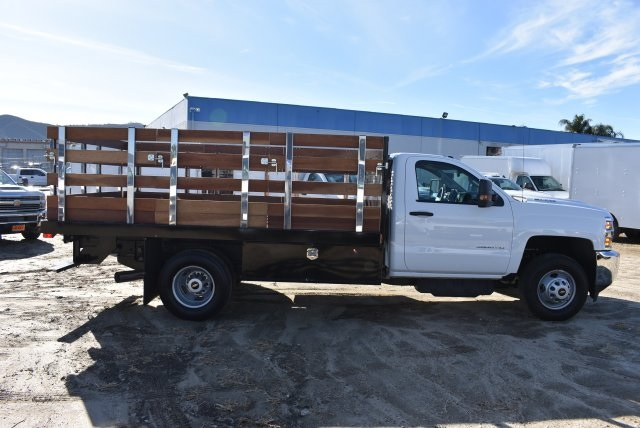 2018 Silverado 3500 Regular Cab DRW,  Harbor Black Boss Stakebed Flat/Stake Bed #M18186 - photo 9