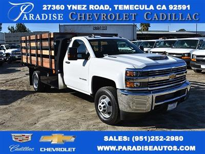 2018 Silverado 3500 Regular Cab DRW,  Harbor Black Boss Stakebed Flat/Stake Bed #M18186 - photo 1