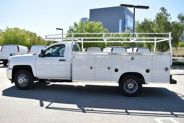 2019 Silverado 3500 Regular Cab DRW 4x2,  Harbor Black Boss Platform Body #M19242 - photo 5