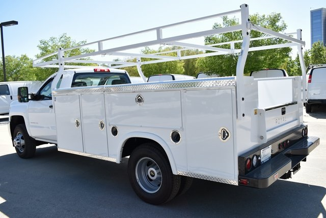 2019 Silverado 3500 Regular Cab DRW 4x2,  Harbor Black Boss Platform Body #M19242 - photo 6