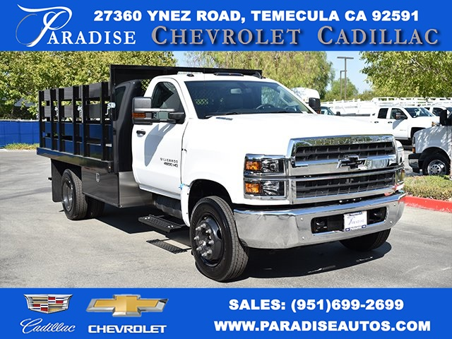 2019 Silverado Medium Duty Regular Cab DRW 4x2,  Harbor Black Boss Stake Bed Flat/Stake Bed #M19733 - photo 1