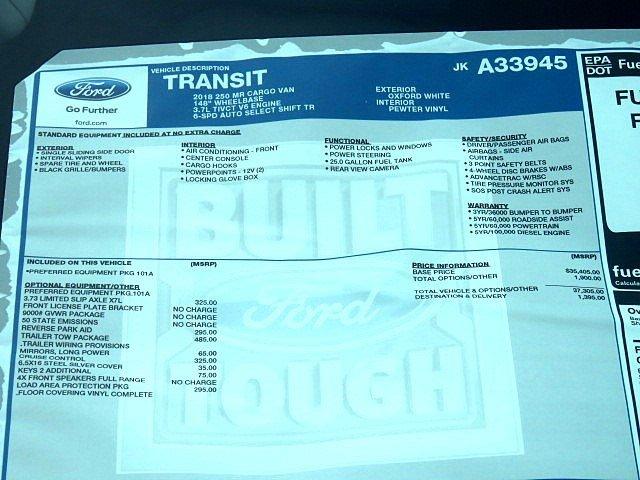 2018 Transit 250 Med Roof 4x2,  Empty Cargo Van #JKA33945 - photo 9