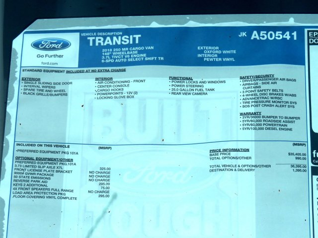 2018 Transit 250 Med Roof 4x2,  Empty Cargo Van #JKA50541 - photo 9