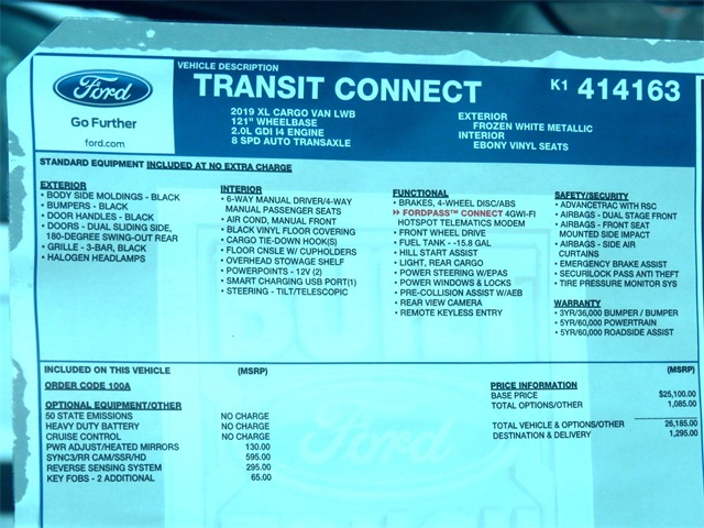 2019 Transit Connect 4x2,  Empty Cargo Van #K1414163 - photo 9