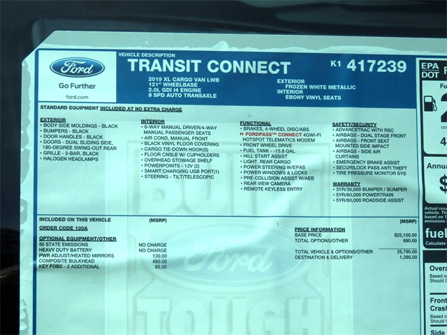 2019 Transit Connect 4x2,  Empty Cargo Van #K1417239 - photo 8