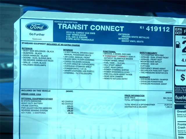 2019 Transit Connect 4x2,  Empty Cargo Van #K1419112 - photo 9