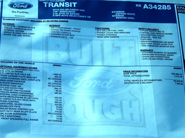 2019 Transit 350 High Roof 4x2,  Empty Cargo Van #KKA34285 - photo 8