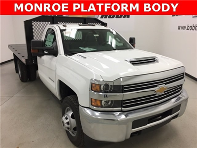 2018 Silverado 3500 Regular Cab DRW 4x4,  Monroe Work-A-Hauler II Platform Body #180214 - photo 1