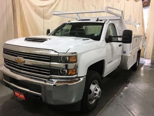2018 Silverado 3500 Regular Cab DRW 4x4,  Harbor Contractor Body #195012 - photo 4