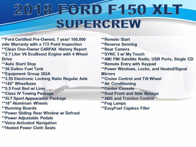 2018 Ford F-150 SuperCrew Cab 4x4, Pickup #F1097D - photo 4