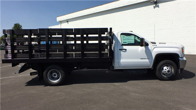 2018 Sierra 3500 Regular Cab DRW 4x4,  Monroe Work-A-Hauler II Stake Bed #JF267621 - photo 4