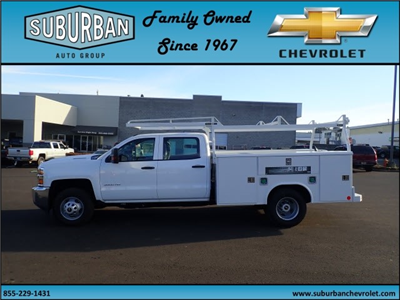 2017 Silverado 3500 Crew Cab DRW 4x2,  Reading Classic II Steel Service Body #T170893 - photo 3