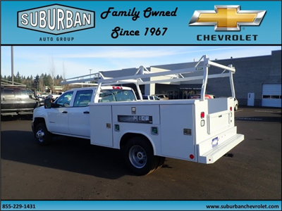 2017 Silverado 3500 Crew Cab DRW 4x2,  Reading Classic II Steel Service Body #T170893 - photo 2