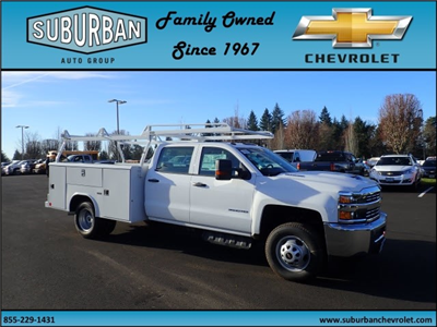 2017 Silverado 3500 Crew Cab DRW 4x2,  Reading Classic II Steel Service Body #T170893 - photo 6
