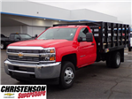 2017 Silverado 3500 Regular Cab DRW, Monroe Work-A-Hauler II Platform Stake Bed #70723 - photo 1