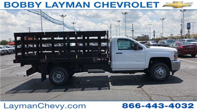 2017 Silverado 3500 Regular Cab DRW, Reading Steel Stake Bodies Stake Bed #HF214817 - photo 1
