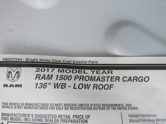 2017 ProMaster 1500 Low Roof FWD,  Empty Cargo Van #HE539091 - photo 8