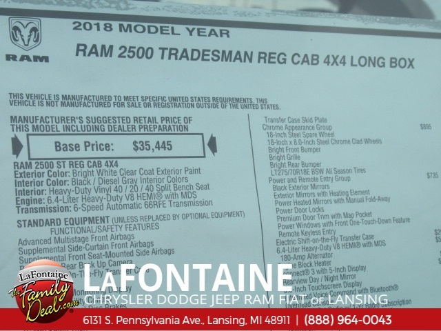 2018 Ram 2500 Regular Cab 4x4,  BOSS Snowplow Pickup #18L1900 - photo 9