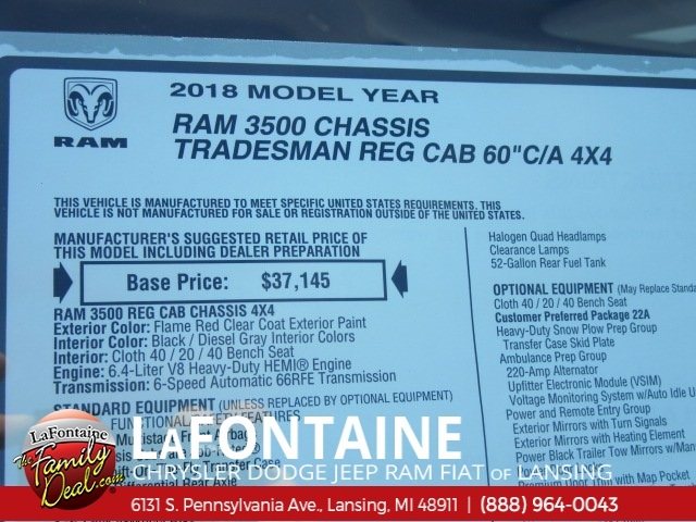 2018 Ram 3500 Regular Cab DRW 4x4,  Cab Chassis #18L792 - photo 9