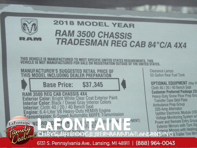 2018 Ram 3500 Regular Cab DRW 4x4,  Cab Chassis #18L794 - photo 7