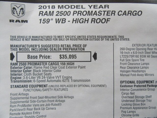 2018 ProMaster 2500 High Roof, Cargo Van #18L880 - photo 31