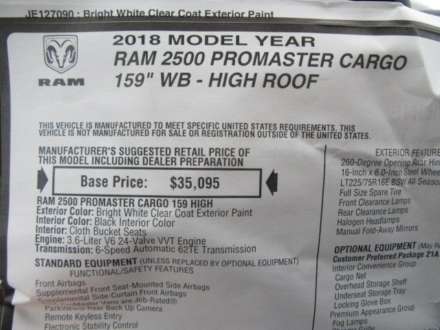2018 ProMaster 2500 High Roof, Cargo Van #18L886 - photo 30