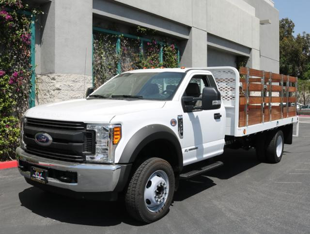 2017 F-550 Regular Cab DRW 4x2,  Scelzi Western Flatbed Stake Bed #H2951 - photo 3