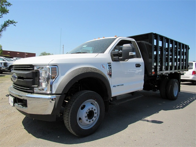 2018 F-450 Regular Cab DRW 4x2,  PJ's Truck Bodies & Equipment Stake Bed #185982 - photo 3