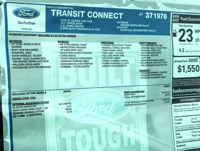 2018 Transit Connect 4x2,  Empty Cargo Van #186247 - photo 6