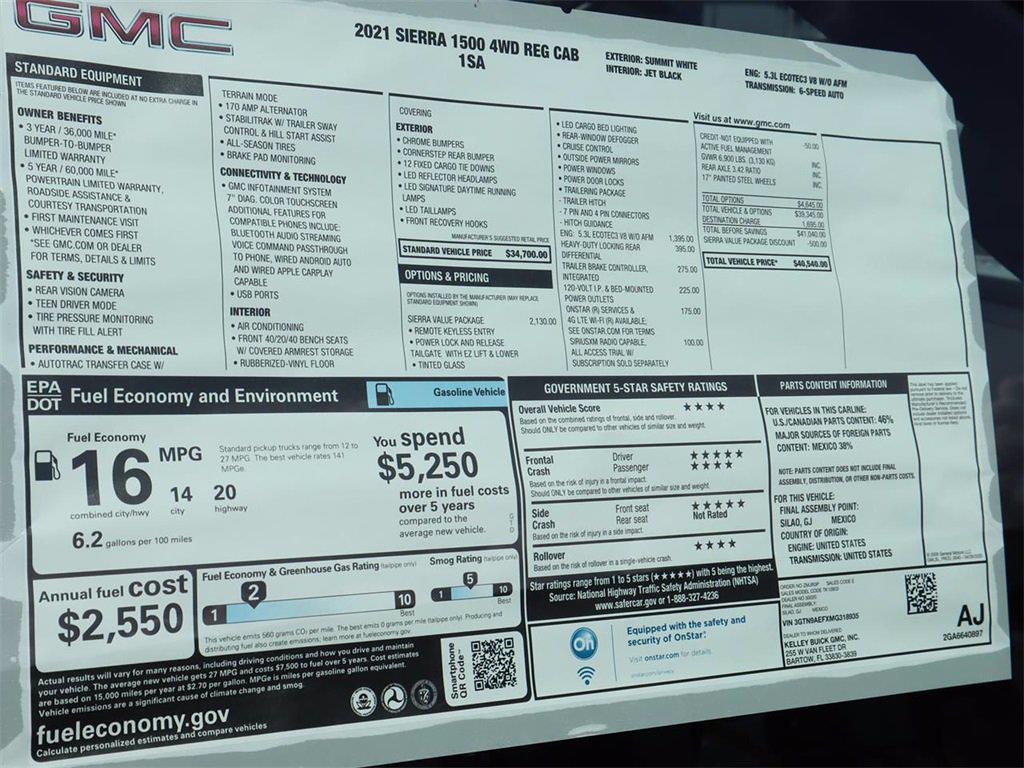 2021 GMC Sierra 1500 Regular Cab 4x4, Pickup #F21591 - photo 18