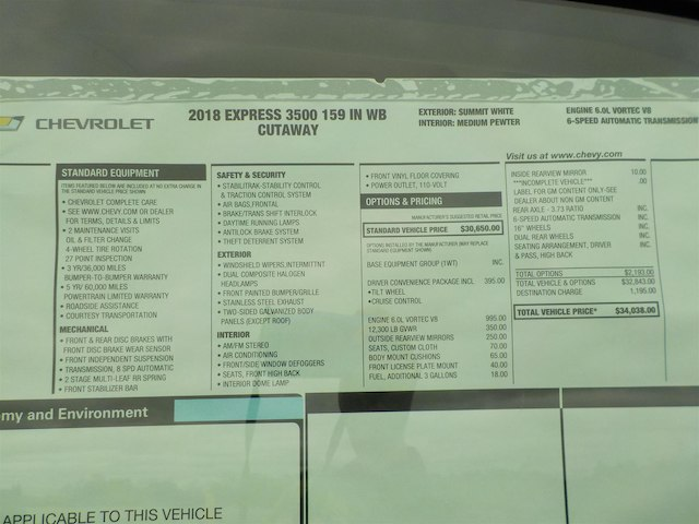 2018 Express 3500 4x2,  Supreme Iner-City Cutaway Van #18T308 - photo 23