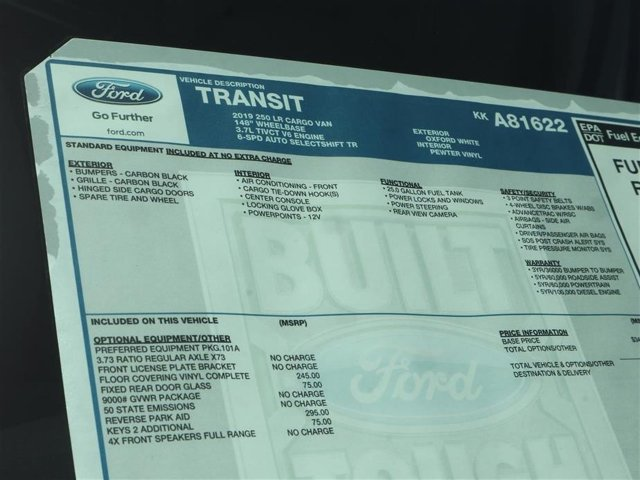 2019 Transit 250 Low Roof 4x2,  Empty Cargo Van #9R2Z1622 - photo 15