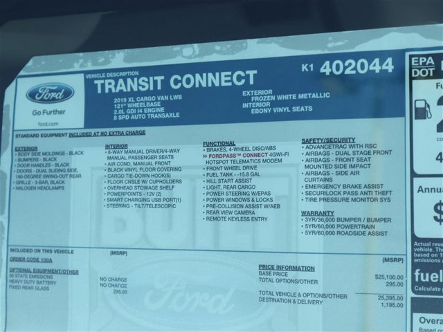 2019 Transit Connect 4x2,  Empty Cargo Van #9S7E2044 - photo 15