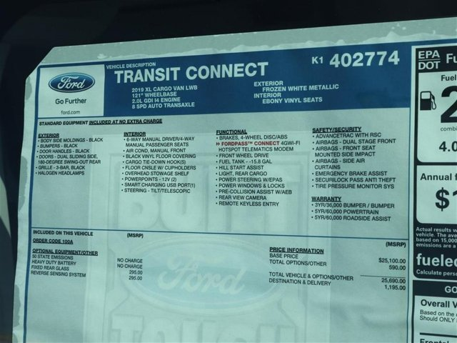 2019 Transit Connect 4x2,  Empty Cargo Van #9S7E2774 - photo 15